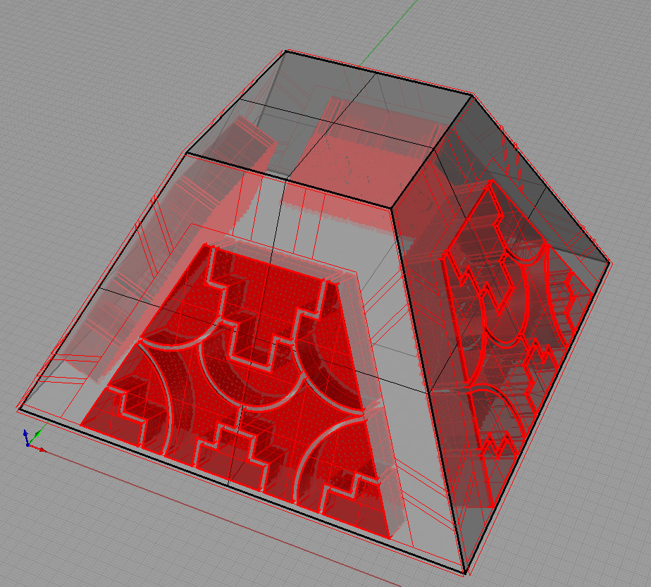 Pyramid with garnet cells inset in red.  Note the orientation of the foil grid in the rear of the cells.