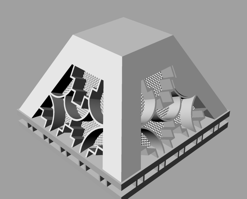 Rendered diagonal view of unfinished pyramid model.