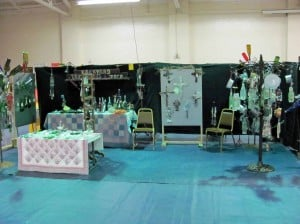 Here is the booth with the bottle trees that I loved.