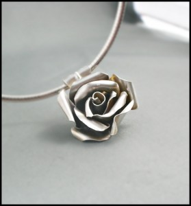 Argentium Silver flower soldered by Ros