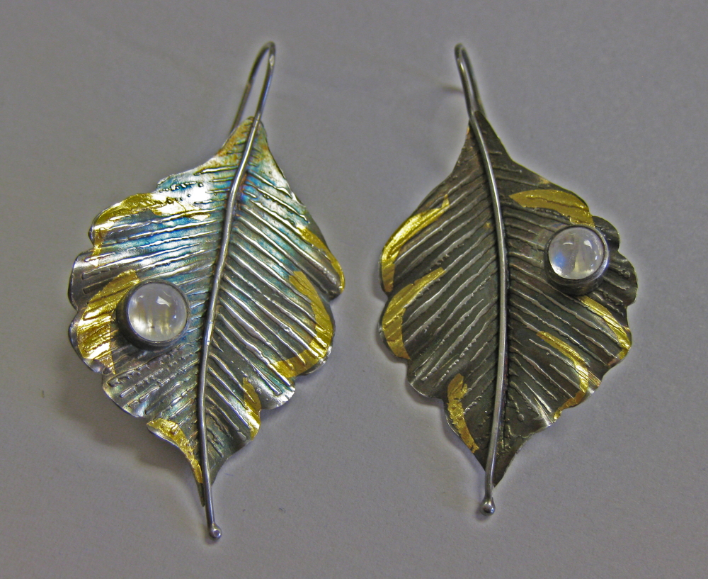 Michele Walsh-Argentium Silver earrings-fused, Kum Boo, soldered stone settings