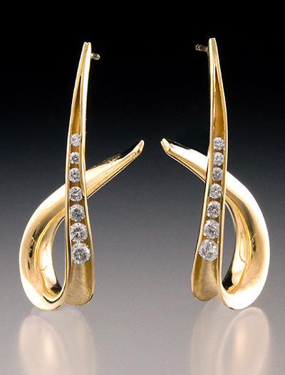 14k Gold Diamond Anticlastic Earrings