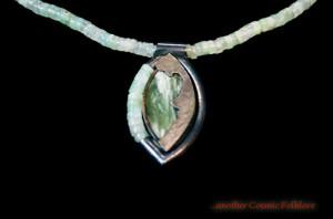 Green Goddess; sterling silver, prehnite beads, and Wisconsin jade.
