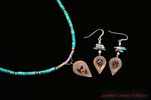 Goddess of the Garnets Set; sterling silver, garnets, and turquoise beads.
