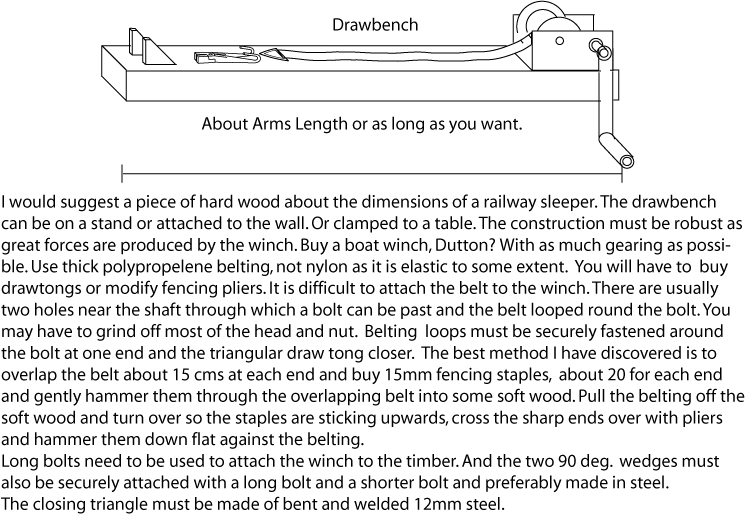 Details of the construction of a drawbench using a boat winch.