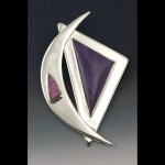 Sterling silver pin with sugilite cabochon and cobaltocalcite drusy.