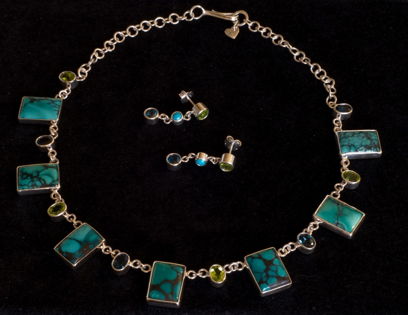 Sterling silver, Chinese turquoise, London blue topaz and peridot necklace and earrings
