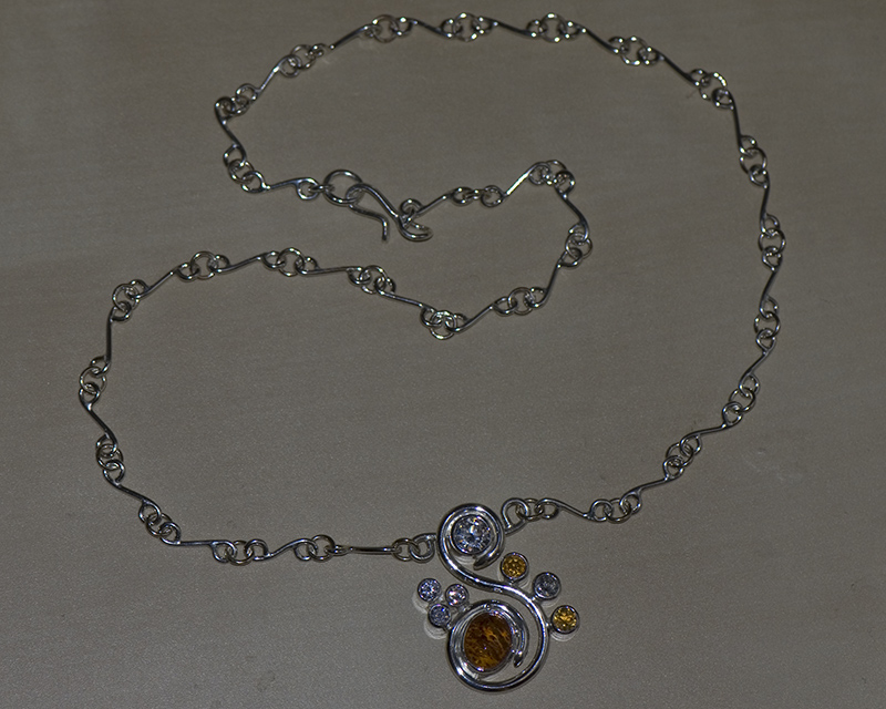Sterling silver and 9K gold, amber, citrine and CZ necklace