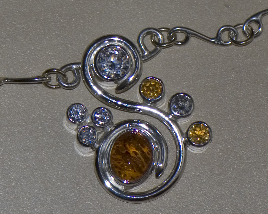 Sterling silver, amber, citrine and CZ pendant