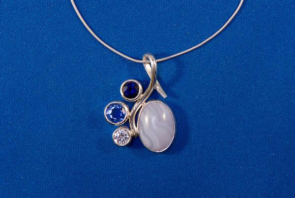Blue lace agate, lab sapphire, lab tanzanite and CZ pendant