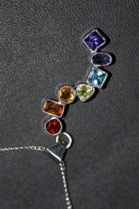 Orissa garnet, Spessartine garnet, citrine, peridot, blue topaz, iolite and lab tanzanite pendant.
