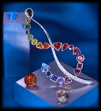 Dalan Hargrave's platinum, diamond and multi-gemstone brooch