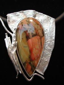 Morrisonite Jasper & Shibuichi Pendant by Kay Taylor