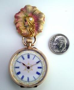 18K Enameled Art Nouveau Brooch, 9K Lady's Watch