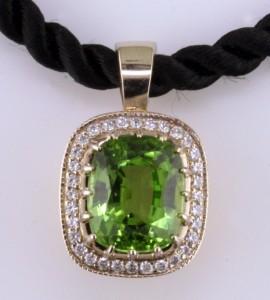 Custom Peridot & Diamond Pendant