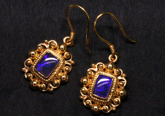 Black Opals in 18K Gold