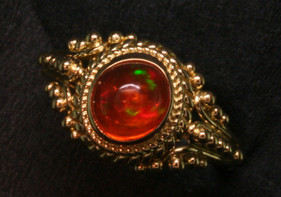 1.67 ct Mexican Fire Opal in 18K Gold