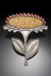 """""""Marigold"""" - seed bead inlay"""