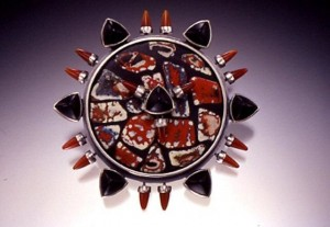 """Red Sun"" pin with enamel shard inlay"