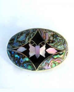 Abalone Mother of Pearl Oval Butterfly Brooch