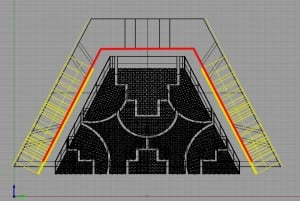 Wireframe side view of the pyramids, with the side of the stone cells in yellow, and the thickness of the side stones in red.
