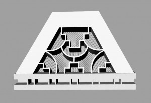Rendered side view of unfinished pyramid.